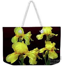 Irises Yellow Weekender Tote Bag by Jasna Dragun