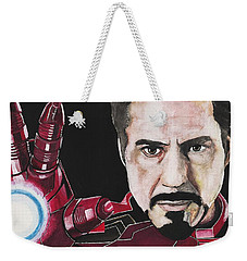 Weekender Tote Bag featuring the painting Iron Man by Edwin Alverio