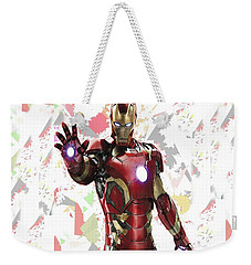Weekender Tote Bag featuring the mixed media Iron Man Splash Super Hero Series by Movie Poster Prints