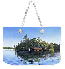 Weekender Tote Bag featuring the painting Island Boathouse Muskoka  by Kenneth M Kirsch