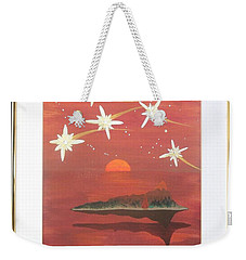 Weekender Tote Bag featuring the painting Island In The Sky With Diamonds by Ron Davidson