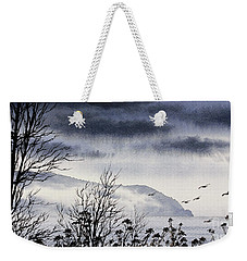 Weekender Tote Bag featuring the painting Island Solitude by James Williamson