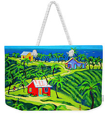 Island Time - Colorful Houses Caribbean Cottages Weekender Tote Bag