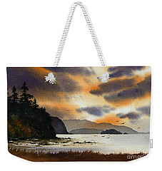 Weekender Tote Bag featuring the painting Islands Autumn Sky by James Williamson