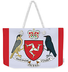 Weekender Tote Bag featuring the drawing Isle Of Man Coat Of Arms by Movie Poster Prints