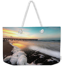 Isle Of Palms Pier Sunrise And Sea Foam Weekender Tote Bag