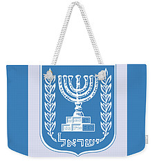 Weekender Tote Bag featuring the drawing Israel Coat Of Arms by Movie Poster Prints