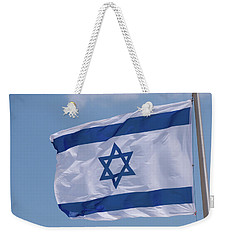 Israeli Flag In The Wind Weekender Tote Bag by Yoel Koskas