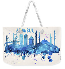 Istanbul Skyline Watercolor Poster - Cityscape Painting Artwork Weekender Tote Bag