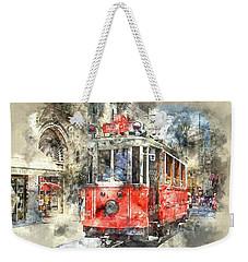 Istanbul Turkey Red Trolley Digital Watercolor On Photograph Weekender Tote Bag
