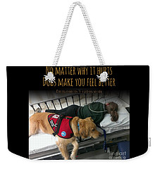 Weekender Tote Bag featuring the digital art It Hurts by Kathy Tarochione