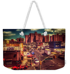Weekender Tote Bag featuring the photograph It Takes A Village - New York Street Scene by Miriam Danar