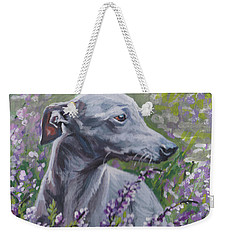 Italian Greyhound In Flowers Weekender Tote Bag