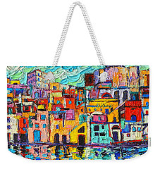 Italy Procida Island Marina Corricella Naples Bay Palette Knife Oil Painting By Ana Maria Edulescu Weekender Tote Bag