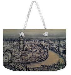 Weekender Tote Bag featuring the drawing Italy Verona by Maja Sokolowska