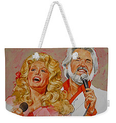 Weekender Tote Bag featuring the painting Its Country - 8  Dolly Parton Kenny Rogers by Cliff Spohn