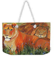 Weekender Tote Bag featuring the painting It's Good To Be King by Jamie Frier