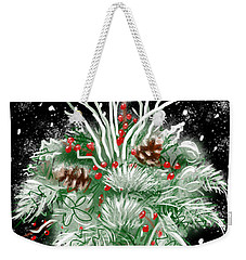Weekender Tote Bag featuring the painting It's Snowing by Jean Pacheco Ravinski