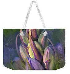 Weekender Tote Bag featuring the digital art Itty Bitty Baby Bluebells by Lois Bryan