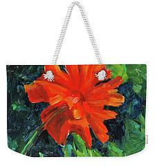 Weekender Tote Bag featuring the painting I've Got My Red Dress On by Billie Colson