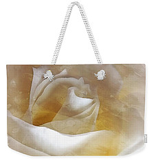 Weekender Tote Bag featuring the photograph Ivory Rose - An Affair To Remember   by Janine Riley