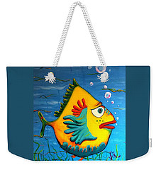 Weekender Tote Bag featuring the painting Izzy On The Itch by Vickie Scarlett-Fisher