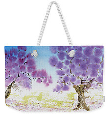Weekender Tote Bag featuring the painting Jacaranda Trees Blooming In Buenos Aires, Argentina by Dorothy Darden