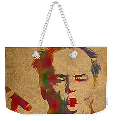 Jack Nicholson Smoking A Cigar Blowing Smoke Ring Watercolor Portrait On Old Canvas Weekender Tote Bag by Design Turnpike