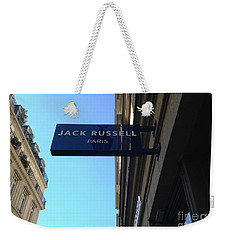 Weekender Tote Bag featuring the photograph Jack Russell Paris by Therese Alcorn