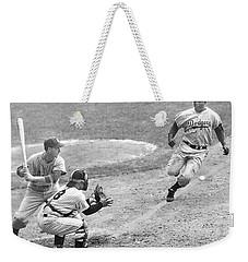 Jackie Robinson Stealing Home Yogi Berra Catcher In 1st Game 1955 World Series Weekender Tote Bag