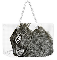 Weekender Tote Bag featuring the drawing Jackrabbit Jock by Linde Townsend