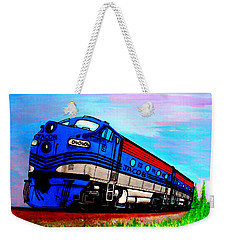 Weekender Tote Bag featuring the painting Jacob The Train by Pjohn Artman