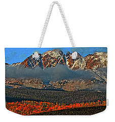 Weekender Tote Bag featuring the photograph Jagged Peaks Fall by Scott Mahon