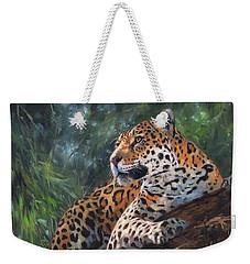Jaguar In Tree Weekender Tote Bag by David Stribbling