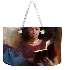 Weekender Tote Bag featuring the painting Jaidyn Reading A Book 1 - Portrait Of Young Woman by Karen Whitworth