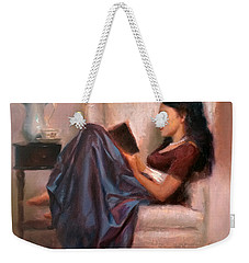 Jaidyn Reading A Book 2 - Portrait Of Woman Weekender Tote Bag