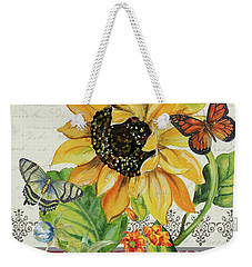 Weekender Tote Bag featuring the painting J'aime Mon Jardin-jp3987 by Jean Plout