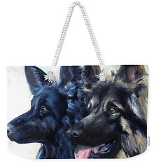 Weekender Tote Bag featuring the painting Jake And Shiloh by Diane Daigle