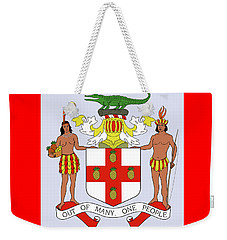 Weekender Tote Bag featuring the drawing Jamaica Coat Of Arms by Movie Poster Prints