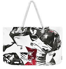 Weekender Tote Bag featuring the mixed media Jameis Winston Tampa Bay Buccaneers Pixel Art by Joe Hamilton