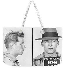 Weekender Tote Bag featuring the mixed media James Whitey Bulger Mug Shot by Dan Sproul