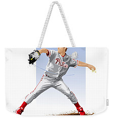 Weekender Tote Bag featuring the digital art Jamie Moyer by Scott Weigner