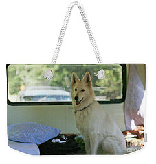 Jane Riding In The Bus Camping At Cape Lookout Weekender Tote Bag