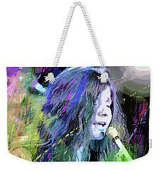Janis Joplin Blue Weekender Tote Bag