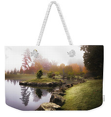 Japanese Garden In Early Autumn Fog Weekender Tote Bag