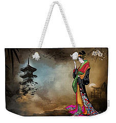 Weekender Tote Bag featuring the digital art Japanese Girl With A Landscape In The Background. by Andrzej Szczerski
