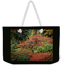 Weekender Tote Bag featuring the photograph Japanese Maple At The Japanese Gardens Portland by Thom Zehrfeld