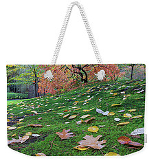 Japanese Maple Tree On A Green Mossy Slope Weekender Tote Bag