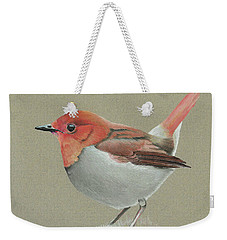 Weekender Tote Bag featuring the drawing Japanese Robin by Gary Stamp