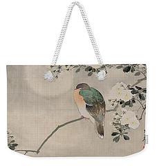 Japanese Silk Painting Of A Wood Pigeon Weekender Tote Bag by Japanese School